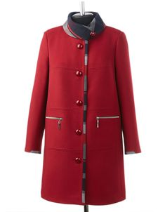 Red coat with black/gray/red trim and zippered pockets.