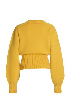 Oversized Embroidered Wool-Blend Sweater by Victoria Beckham Wool Sweaters, Oversized Sweaters, Knit Sweater Outfit, Easy Knitting Patterns, Knitting Projects, Yellow Sweater, Winter Wear, Victoria Beckham, Wool Blend
