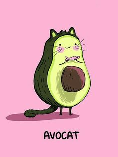 Avocat X Funny Cute Food Art Print Etsy - Pun Play On The French Word Avocat Meaning Avocado And Also Lawyer Actually And The English Word Cat Thanks To My Friend Heather Ehlers For The Idea This Image Is Available In Xx Funny Animals, Cute Animals, Images Kawaii, Art Mignon, Cute Food Art, Kawaii Drawings, Funny Drawings, Easy Drawings, Funny Art