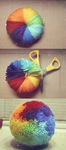 Tutorial de como hacer pompones de colores...checalo
