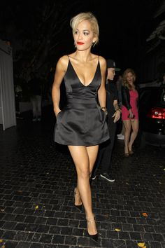 Rita Ora looks amazing in black leaving Chateau Marmont
