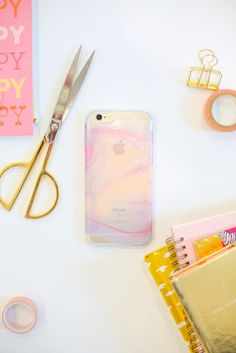 DIY nail polish marbled cell phone case