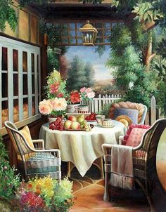 ✿Flowers at the window & door✿ 'Garden Tea'