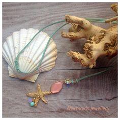Wildlederkette *Beachgold* Seestern rose türkis von MermaidsJewellery auf DaWanda.com
