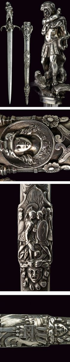 "An important ""heroic style"" silver mounted dagger,    provenance:	 	Europe dating:	 	19th Century."