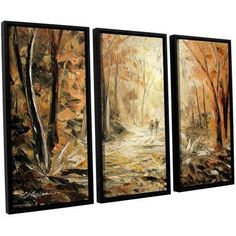 ArtWall Milen Tod Couple's Stroll 3-Piece Floater Framed Canvas Set, Size: 36 x 54, Brown