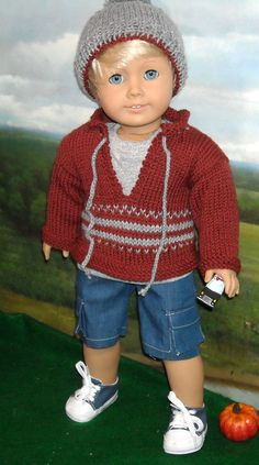 "Sweater, Hat, Tee and Cargo Shorts for 18"" Boy doll by SugarloafDollClothes on Etsy  $65.00"