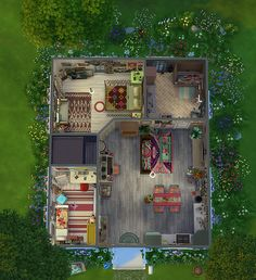 New style plan. Lotes The Sims 4, Sims 1, Sims 4 Mods, Sims 4 House Plans, Sims 4 House Building, Sims 4 Houses Layout, House Layouts, Sims Freeplay Houses, Sims 4 House Design