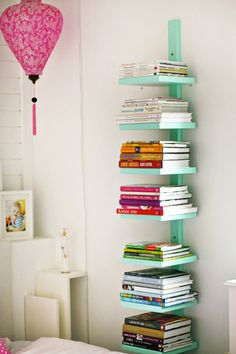 "No room for bookshelves - this is a great idea that takes up maybe 12"" of space!"