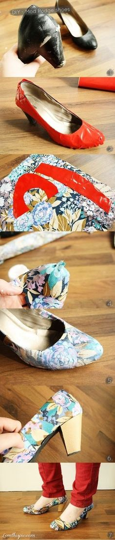 Redo Old Shoes with Fabric crafts craft ideas easy crafts diy ideas diy clothes easy diy diy fashion diy shoes craft clothes fashion diy