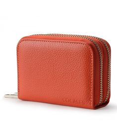 Buy Women Credit Card Wallet RFID Blocking Genuine Leather Double Zipper Purse - Orange - and More Fashion Bags at Affordable Prices. Rfid Wallet, Clutch Wallet, Leather Wallet, Credit Card Wallet, Credit Cards, Big Purses, Neck Massage, Wallets For Women, Fashion Bags