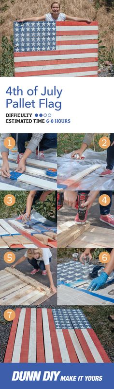 This DIY American Flag Pallet Sign is the perfect addition to any July party. Pallet Flag, Pallet Art, Pallet Signs, Wood Signs, Diy Pallet, Pallet Crafts, Pallet Projects, Diy Projects, Wood Crafts