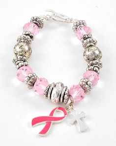 Silver Tone / Pink Glass Crystal & Epoxy / Antique Silver Ccb (bead) / Lead Compliant / Cross & Pink Ribbon Charm / Toggle Closure / Stretch Bracelet