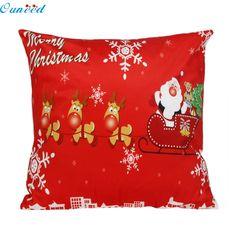 Fashion Heaven Hot 1PC Christmas Santa Claus Pillow Case Sofa Waist Throw Cushion Cover Home Decor 45cm*45cm Free Shipping Sep12