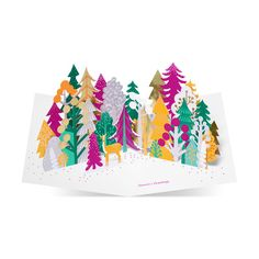 modern and contemporary moma christmas card featuring colourful forest design choose a moma christmas card from postmark online londons leading card - Moma Holiday Cards