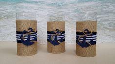 Set of 3 Nautical Vase Centerpieces  - Anchor Navy Boating Boat Coastal Wedding Centerpiece Vases Sand Dollar Candle Holders Holder Flowers by ParadiseBridal on Etsy
