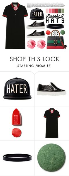 """Top Hat: Baseball Cap Style"" by miee0105 ❤ liked on Polyvore featuring Giuseppe Zanotti, Gucci, L. Erickson, gucci, baseballcap and baseballhats"