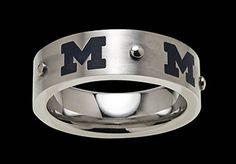Beliza Design | University of Michigan Rings - R51Z0360 - Brushed Stainless Steel University of Michigan Ring with Dark Blue Block 'M' Logos and Rivet Accents