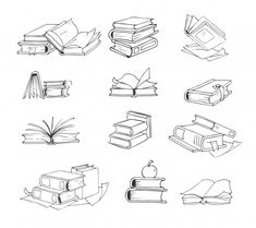 Stack of books, and open book illustration Doodle, hand drawn sketch books vector set. Stack of books, and open book illustration Doodle Drawings, Doodle Art, Tattoo Sketches, Drawing Sketches, Tattoo Schwarz, Petit Tattoo, Doodle Books, Sketch Notes, Stack Of Books