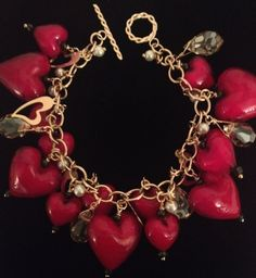 "Red Hearts Murano Glass and Gold Charm Bracelet ~ featured in the Etsy ""It is Valentine..."" treasury list. By Ametista Designs."