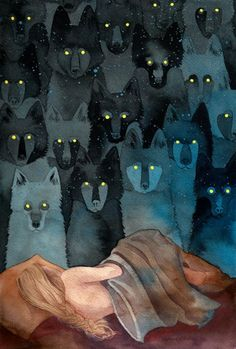 Sleeping girl, wolves with glowing yellow eyes (wolf) by Caitlin Clarkson / meh.ro