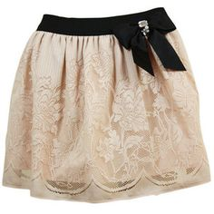 Peach Lace Look Bow Skirt - desireclothing.co.uk $10