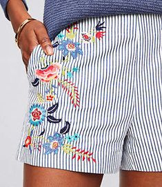 8f39571d0e9 LOFT Floral Embroidered Riviera Shorts with 3 Inch Inseam Cute Fashion