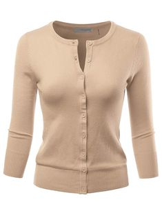 ef08e7a1f LALABEE Women s 3 4 Sleeve Crewneck Button Down Knit Sweater Cardigan  (S~3XL)