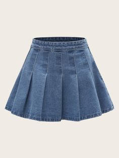 To find out about the Plus Pleated Flared Denim Skirt at SHEIN, part of our latest Plus Size Denim Skirts ready to shop online today! Fall Fashion Skirts, Kpop Fashion Outfits, Stage Outfits, Look Fashion, Girl Fashion, Cool Outfits, Denim Fashion, Cheap Fashion, Fashion Women