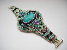 Girly Cuff Bead Embroidery Bracelet Cuff by PreciousHeartBeads