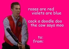 Crazy Steve Valentine - Drake and Josh Valentines Day Card Memes, Happy Valentines Day, Valentine Cards, Steve Valentine, Valentine Jokes, Love Memes, Funny Memes, Hilarious, Pick Up Lines Cheesy