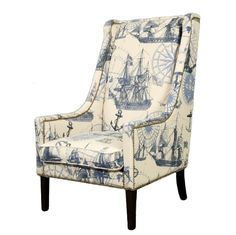 Manchester Club Wing Chair Ship Fabric NAUTICAL wing chair