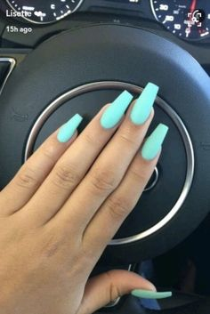 Best Acrylic Nails for 2017 - 54 Trending Acrylic Nail Designs - Best Nail Art Bright Summer Acrylic Nails, Blue Acrylic Nails, Simple Acrylic Nails, Acrylic Nail Designs, Aqua Nails, Summer Nail Polish, Acrylic Summer Nails Coffin, Neon Nail Art, Bright Nails