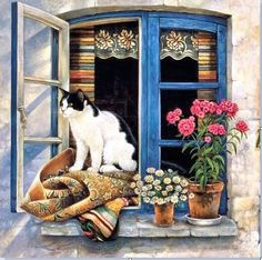Kitty Art - Cats at Their Windows by Lesley Anne Ivory I Love Cats, Crazy Cats, Cute Cats, Frida Art, Cat Window, Cat Boarding, All About Cats, Cat Drawing, Cat Art