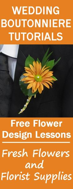 How to Make a Brown Daisy Boutonniere - Easy Wedding Flower Tutorials - Learn how to make bridal bouquets, corsages, boutonnieres, table centerpieces and church flower arrangements.  Buy wholesale flowers and discount florist supplies.