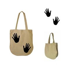 Lniana Torba na zakupy NATURAL BAGS - black hands w HANAKO na DaWanda.com