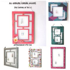 Free shipping on all wall hanging earring holders from justaddjewelry.etsy.com.  Click on the picture to all the available styles!! #storage #roomdecor #college #dorm #backtoschool