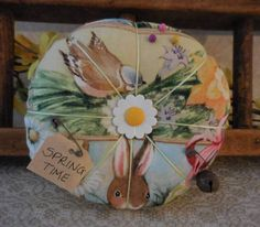 Primitive Springtime Pin Cushion Bird Daffodil Pin Keep Ornament by auntiemeowsprims on Etsy