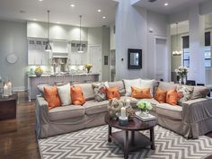 Transitional - orange - chevron rug - Living Room - il Regalo - 6873 il Regalo Circle, Naples, FL 34109