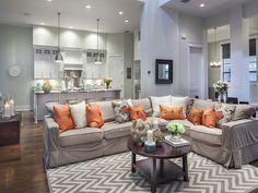 Transitional - orange - chevron rug - Living Room - il Regalo - 6873 il Regalo Circle, Naples, FL 34109