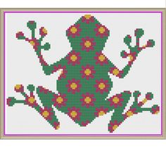 Floral Frog in Fuchsia and Fern Counted Cross Stitch Pattern by HornswoggleStore, $5.00 (Nursery, Kids, Children, Animal, Baby)