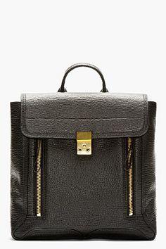 3.1 Phillip Lim Black Pebbled Leather Pashli Backpack for women   SSENSE