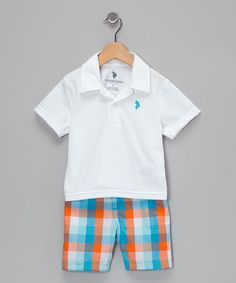 Paper White Pique Polo  Shorts from U.S. POLO Association on #zulily #cutiestyle