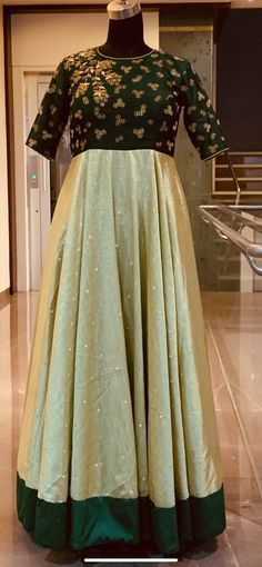 Beautiful bottle green and pista green color combination floor length dres with floret lata design hand embroidery work on yoke. Ready to ship Price : 8500 INR. To order whatsapp Wedding Dresses Men Indian, Wedding Dress Men, Saree Wedding, Pista Green Colour, Olive Green Color, Green Blouse, Green Dress, Maroon Color, Pink Color