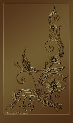 """one of the series """"Chocolate Collection"""" Designed in PS 7 NB:- Please do not copy, reproduce or redistribute my work without permission Chocolate-II Stencils, Pewter Art, Glue Art, Metal Embossing, Foil Art, Gold Work, Motif Floral, Glass Design, Fabric Painting"""