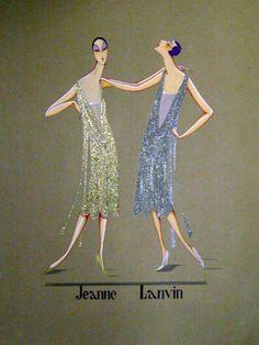 Croquis de robes lamées or & argent signé Jeanne Lanvin