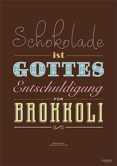 Das LECKER-Poster - ein Muss für Schokoholics | Schokolade, God and Chocolates