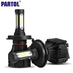 Partol S5 H4 H7 H11 H1 9005 9006 H3 9007 COB LED Del Faro 72 W 8000LM All in one Car LED Fari Lampadina Della Luce di Nebbia 6500 K 12 V 24 V