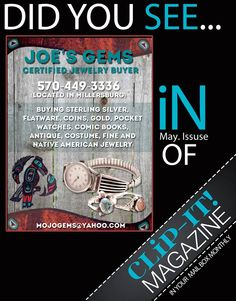 Buying gold,sterling silver,coins,antique and vintage jewelry. Joe's Gems is located in central,PA and can be found on Facebook along with Etsy.
