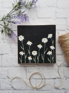 Sweet and simple daisy painting on a piece of pine. Background is black. This painting can stand on its own or can be hung on the attached claw tooth hanger. Simple Canvas Paintings, Easy Canvas Art, Small Canvas Art, Mini Canvas Art, Shabby Chic Wall Art, Bohemian Wall Art, Daisy Painting, Aesthetic Painting, Flower Wall
